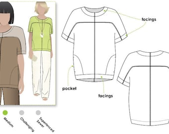 Tessa Top - Sizes 16, 18, 20 - Woven Top PDF Sewing Pattern by Style Arc - Sewing Project - Digital Pattern