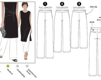 PRINTSHOP PDF PATTERN // Natasha Woven Pant // Sizes 6, 8 & 10 // Women's Sewing Pattern