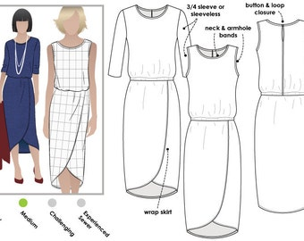 Cameron Dress 16, 18, 20 - PDF dress sewing pattern for printing at home by Style Arc - Instant Download - Sewing Project