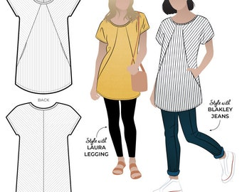 Reece Knit Tunic // Sizes 22, 24 & 26 // Style Arc PDF Sewing Pattern for Instant Download- No Paper Pattern Will Be Sent