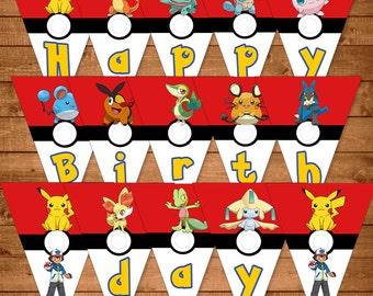 Pokemon Banner Red   White - Pokemon Birthday Banner- Pokemon Party Favors  - Pokemon Printables e5d4440d3