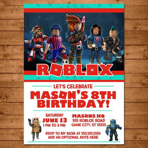 Roblox Birthday Invitation Roblox Invite Roblox Party Etsy
