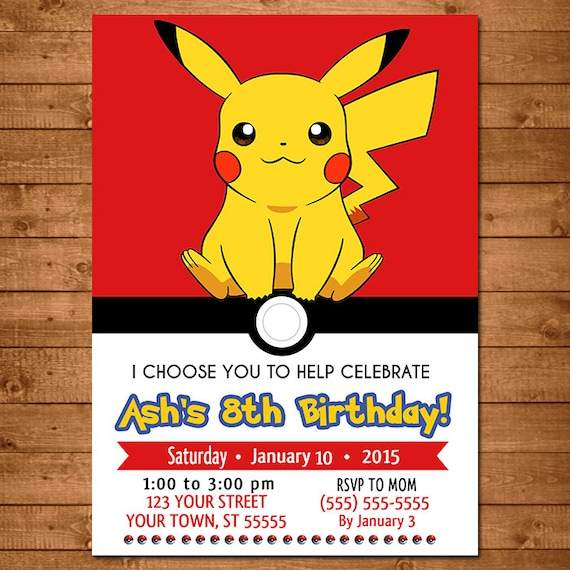 Pokemon Pikachu Invitation Pokemon Pikachu Invite Pokemon Pikachu Birthday Pokemon Pikachu Party Favors 100327