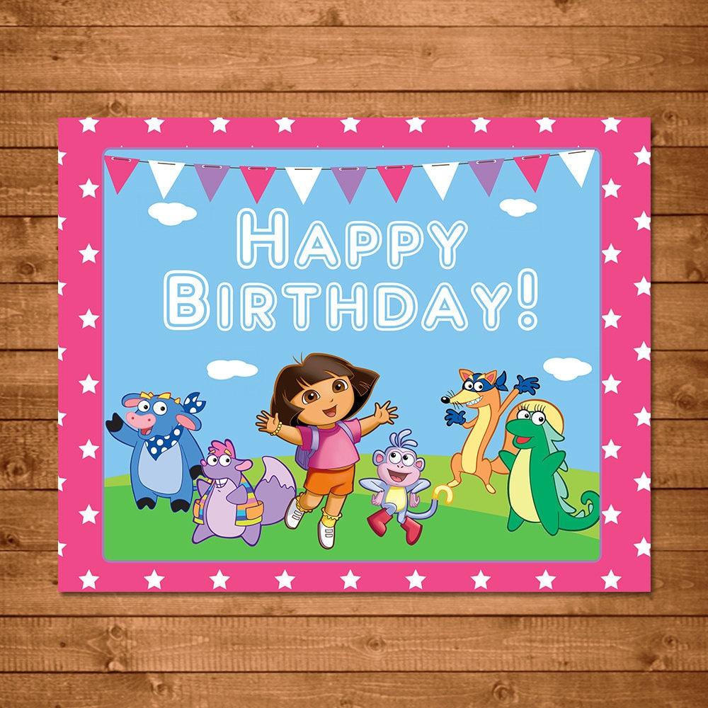 Dora The Explorer Printable Birthday Sign Pink Dora Birthday Etsy