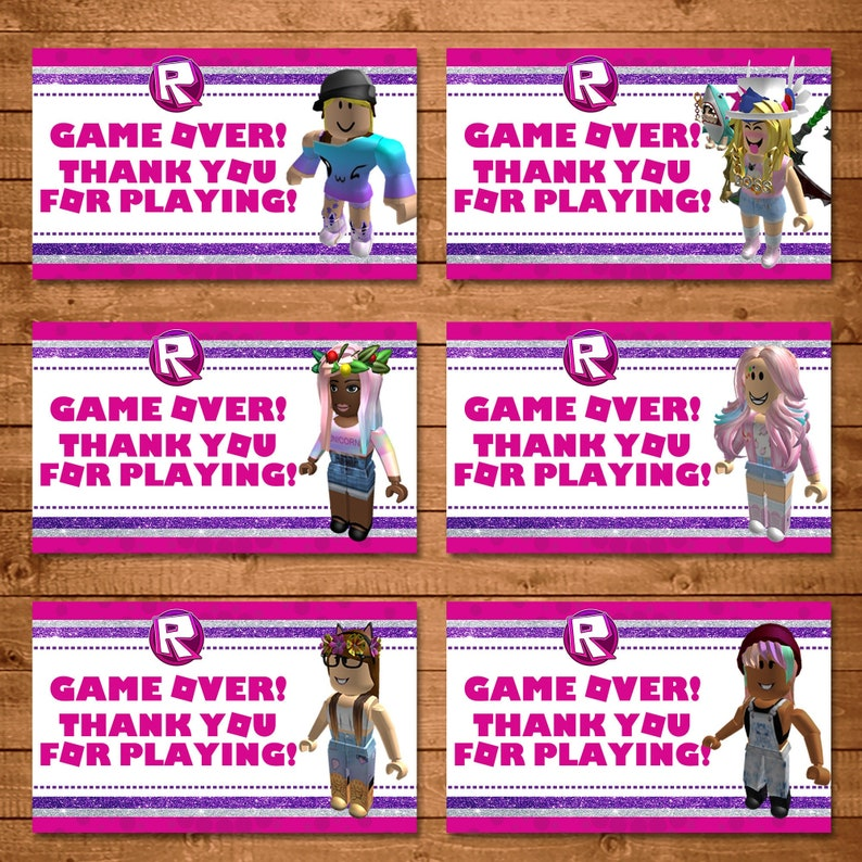 Girl Roblox Party Tags - Pink Roblox Favor Tags - Roblox Party for Girls Roblox - Party Favor Printables - Video Game Birthday - 101011
