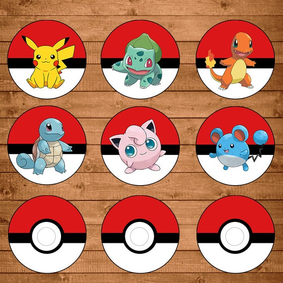 photograph relating to Pokemon Cupcake Toppers Printable called Pokemon Cupcake Toppers Crimson White - Pokemon Stickers - Pokemon Occasion Favors - Pokemon Printables - 100327
