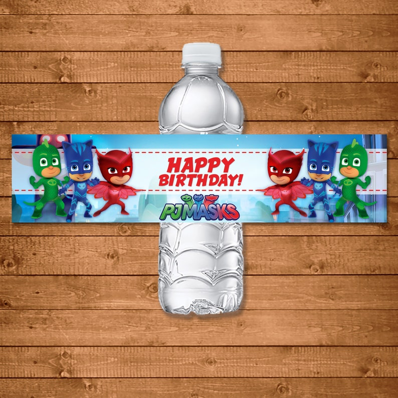 PJ Masks Drink Label - PJ Masks Water Bottle Label - PJ Masks Birthday Party Printables - Pj Masks Favors - Catboy Owlette Gekko - 100854