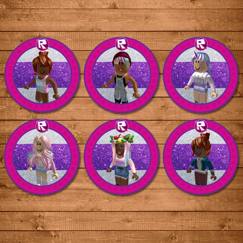 Girl Roblox Cupcake Toppers - Pink Roblox Stickers -Roblox Party for Girls Roblox - Party Favor Printables - Video Game Birthday - 101011
