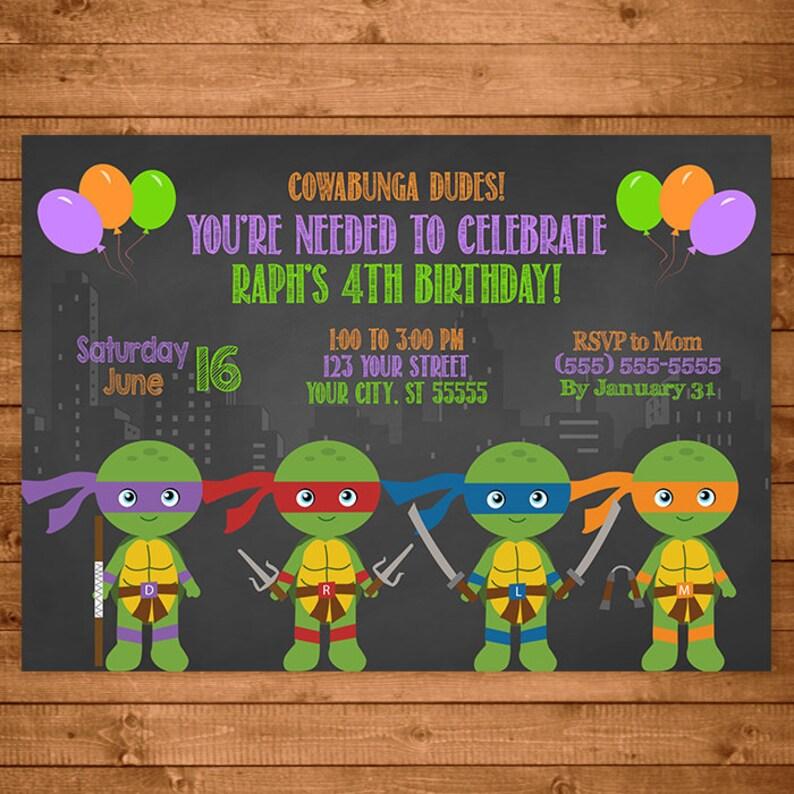 Teenage Mutant Ninja Turtles Invitation Chalkboard Illustrations TMNT Invite Birthday Party Favors