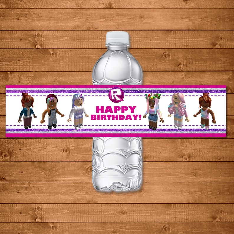 Girl Roblox Drink Label - Roblox Water Bottle Label - Pink Roblox - Party for Girls Roblox - Party Favor Printables - Video Game - 101011
