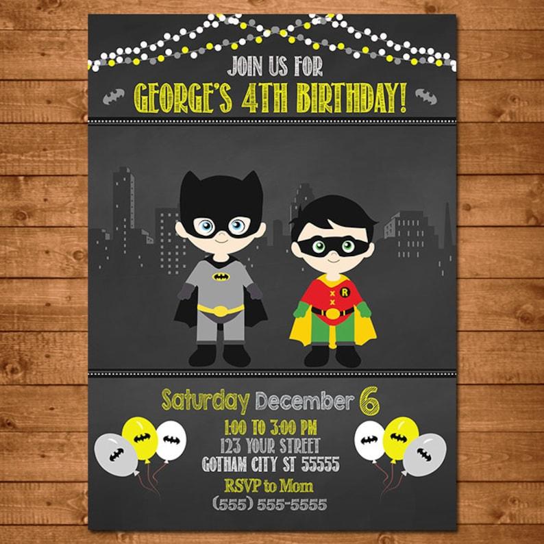 Batman Robin Superhero Invitation Chalkboard Theme Batman Etsy