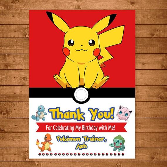 Pokemon Pikachu Thank You Card Pokemon Pikachu Thank You Etsy