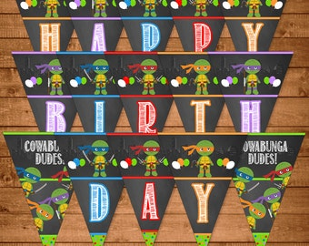 Teenage Mutant Ninja Banner Chalkboard Illustrations -- TMNT Happy Birthday Banner -- Ninja Turtles Birthday -- TMNT Party Favors