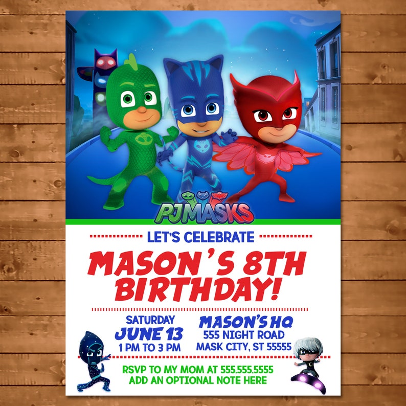 PJ Masks Invitation - PJ Masks Invite - PJ Masks Birthday - Pj Masks Party Favors - Catboy Owlette Gekko - Photo Invite - 100854