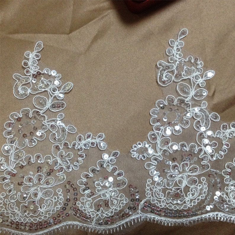 Beaded and Paillette Lace Trim