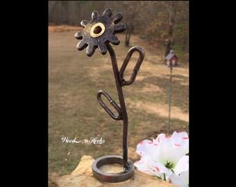 Flower Sculpture repurposed Metal Art Christmas Gift Steampunk Art garden