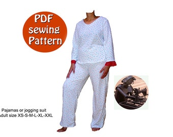 Style sewing kit tutorial multisizes hobo pants and top womens pajamas or jogging suit pattern instant download pdf style sewing pattern diy small medium large plus size canadian etsy seller fandeluxe Choice Image