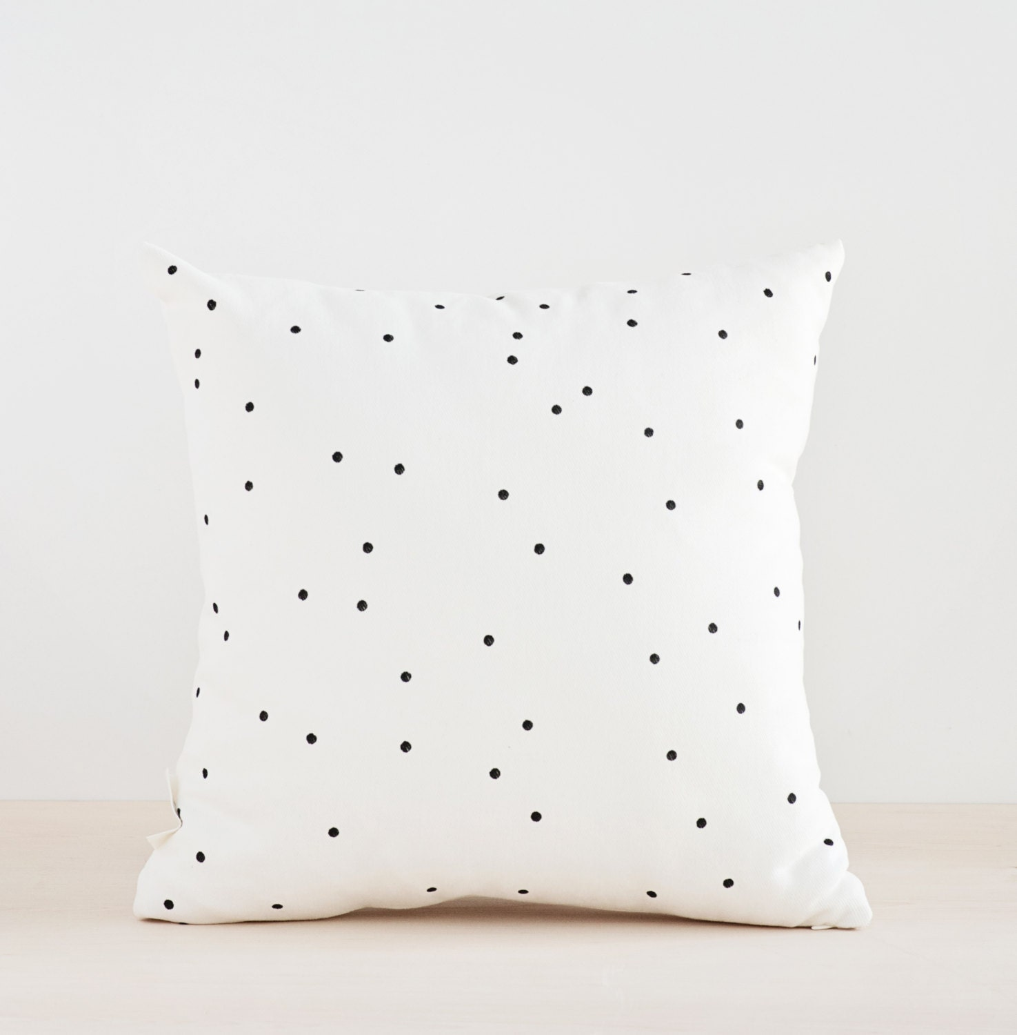 SALE!!! Black Dots Pillow Cover, Minimalist Pillow, Hand Painted Pillow,  Decorative Cushion, Black And White Pillow Cover, 14x14