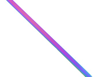 Rainbow Stainless Steel Bracelet Stamping Blank 6.5mm Wide - Beaducation Metal Stamping Tools & Supplies for DIY Jewelry Making (AT225)