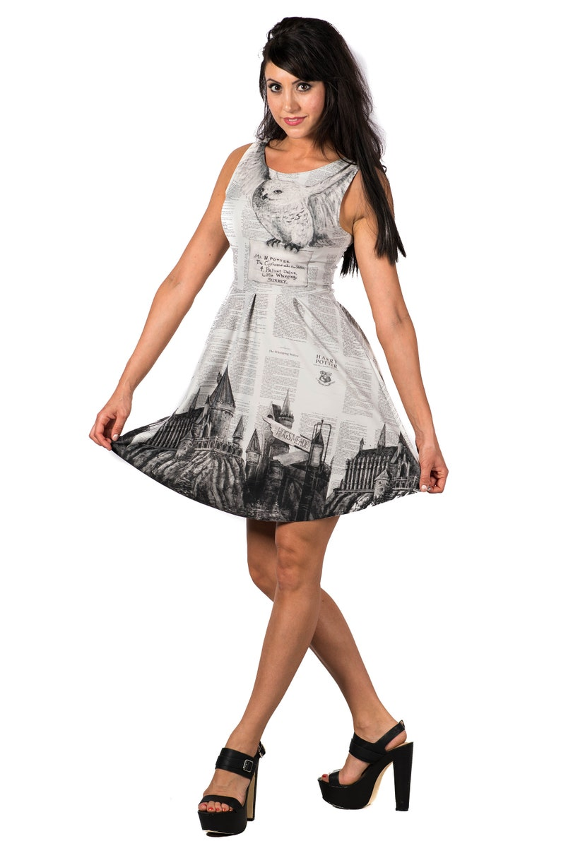 4e4658081abf6 Hedwig Owl Flirt Dress, Harry Potter Castle Dress, School of Witchcraft and  Wizardry printed fit and flare Reversible Short Dress