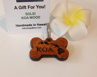 Hawaiian Dog ID Tag - Custom Engraved - Solid Koa Wood - Made in Hawaii