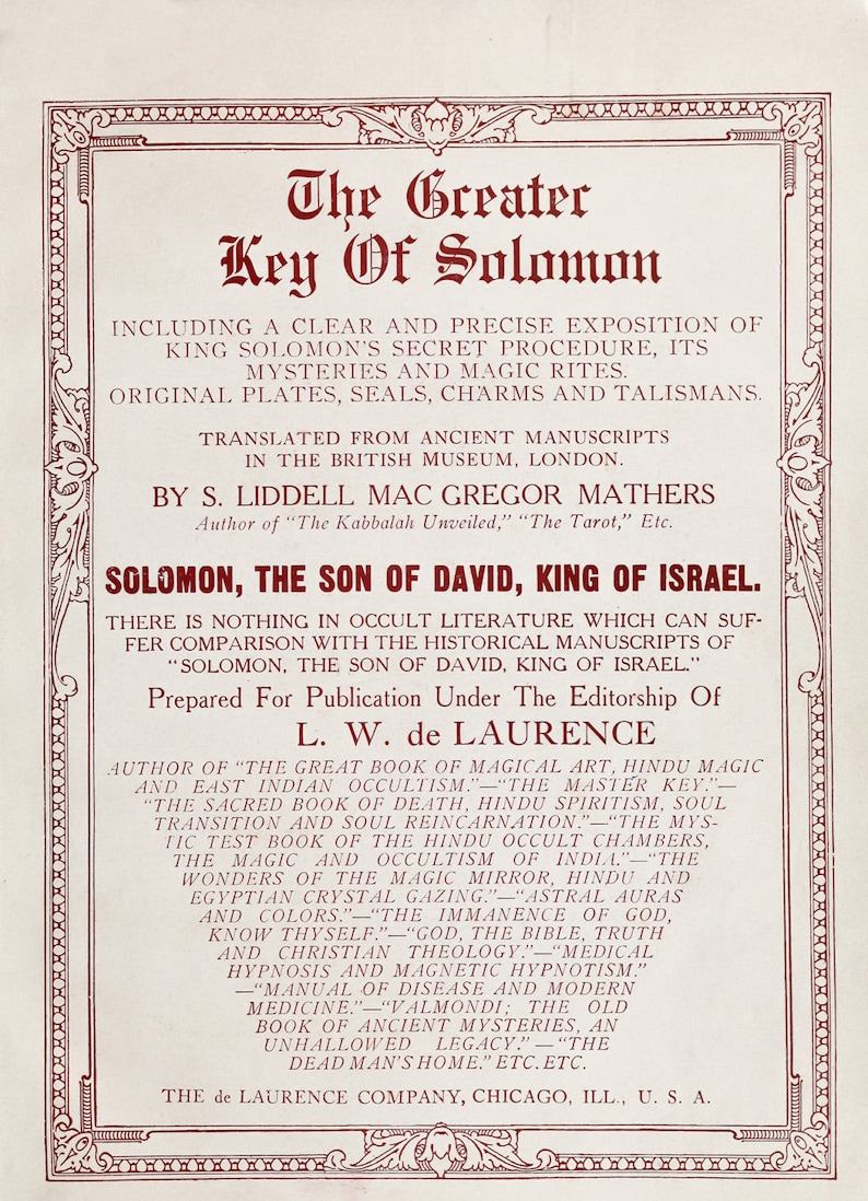 The Greater Key of Solomon FULL BOOK 1914 edition - old magic Grimoire -  symbol - sigil - magic book - spell book - PDF Download