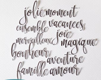 Lot de découpes 11 mots FRANÇAIS (Exclusif à Etsy)