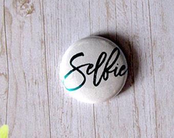 "Badge 1"" - Selfie Métallique turquoise"