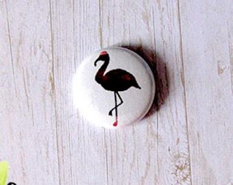 "Button - 1 ""metal Flamingo Pink"