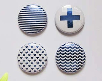"Badge 1"" - Texture métallique bleu royal"