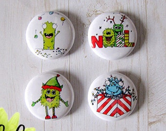"Badge 1"" - Monstres Noël par Tartine Peluche"