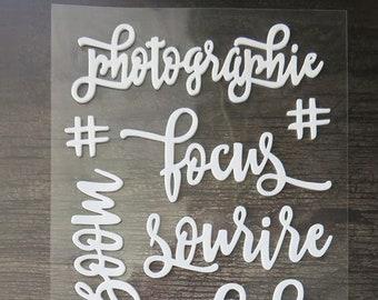 Mots autocollants en mousse blancs - Photographie