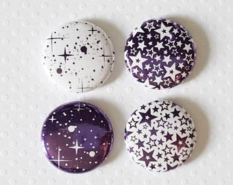 """Badge 1"""" - Étoile métallique mauve (Design par KareenBH)"""