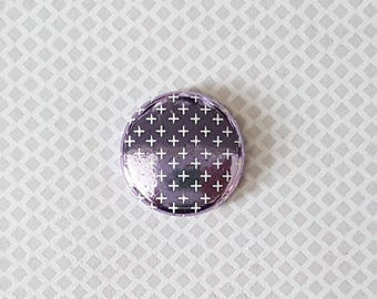 "Badge 1"" - Plus Métallique lilas"