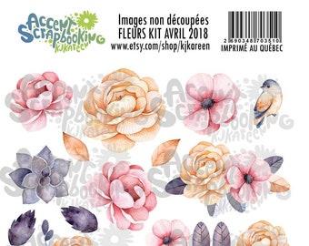 """Images à découper """"Fleurs kit avril 2018"""""""