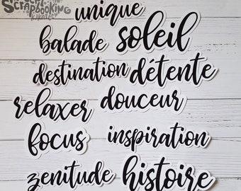 """Lot de découpes 11 mots FRANÇAIS """"Soleil"""" (Exclusif à Etsy)"""