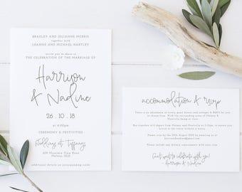 Light Minimal Wedding Invitation & Details Card - Printable Design
