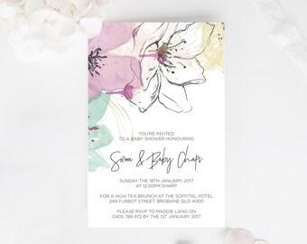 Baby Shower Invitation Floral - Printable Design