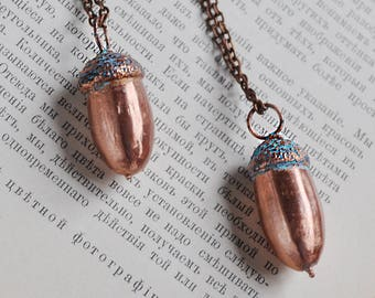 Real acorn necklace, copper electroform, electroforming, electroplated, electroformed arcon, Peter Pan's acorn pendant