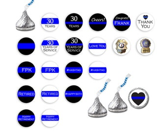 e0be45dc4 Police Officer Retirement Favors, PD Retirement Decorations, Police Officer  Decor, Chocolate Candy Labels, Hershey Kiss Sticker, Congrats