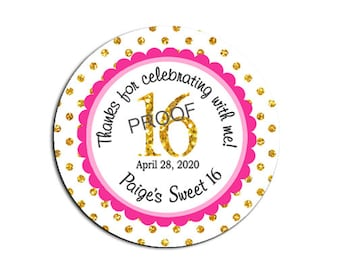 Sweet Sixteen Party Favor Stickers