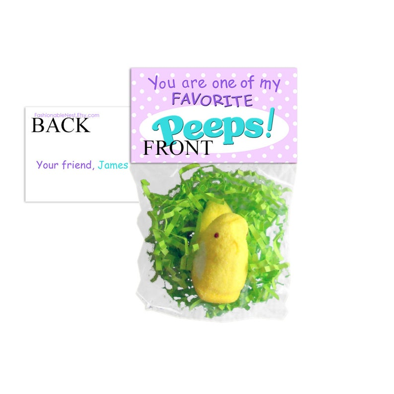 Easter Treat Bag Toppers / Easter Peeps / Easter Classroom Favors