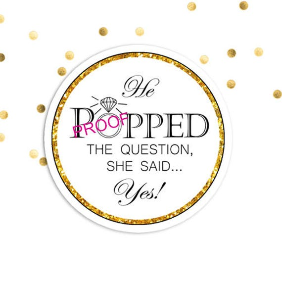 He Popped The Question She Said Yes Engagement Party Favor Sticker Tag Kettle Corn Popcorn Labels Printable