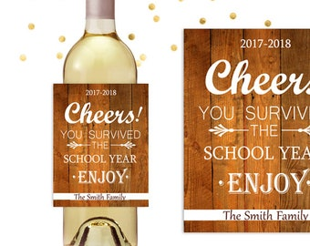 Teacher Wine Labels, Cheers You Survived The School Year, Custom Wine Label Gift, Wine Bottle Label, Personalized Wine Label