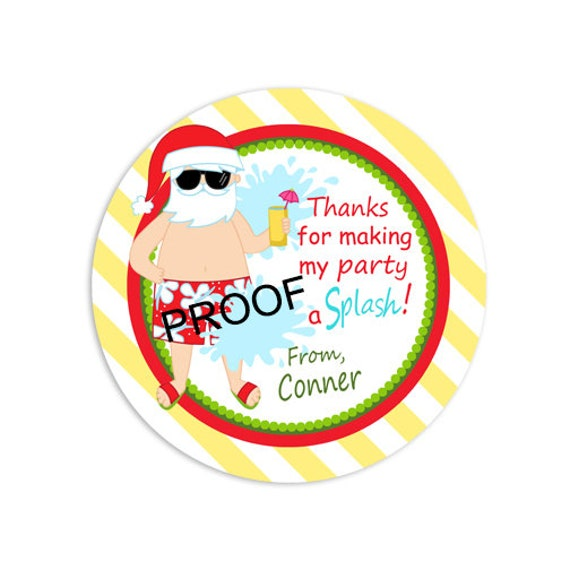 Christmas In July Party Clipart.Christmas In July Favor Tags Christmas Pool Party Tags Party Printables