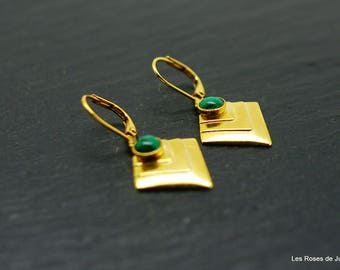 Fargo, earrings gold earrings, malachite