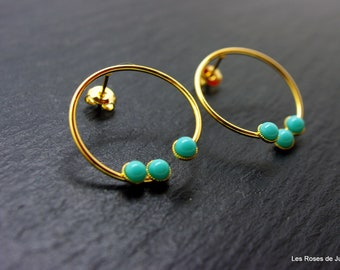 Gold circles earrings, circle earrings gold turquoise