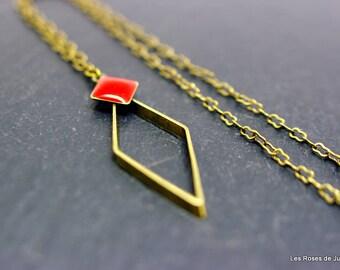 Bronze art deco pendant, bronze, graph, enamel jewelry
