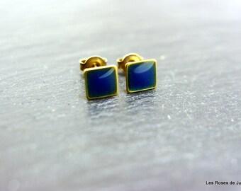 Bronze earrings, square earrings