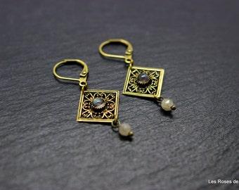 Earrings bronze art deco earrings art deco, semi precious stones